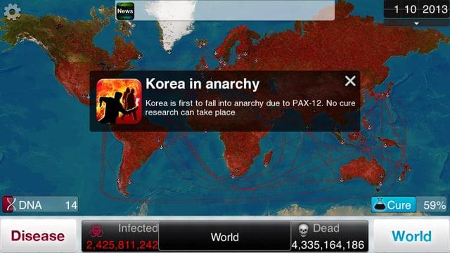 Screenshot von «Plague Inc.»