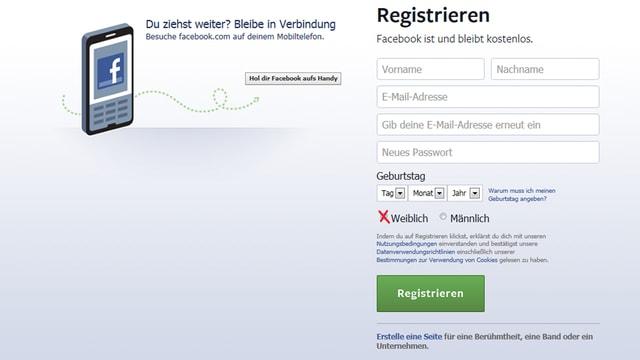 Printscreen Facebook-Titelseite.