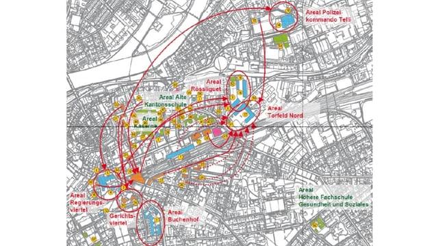 Karte mit Pfeilen.
