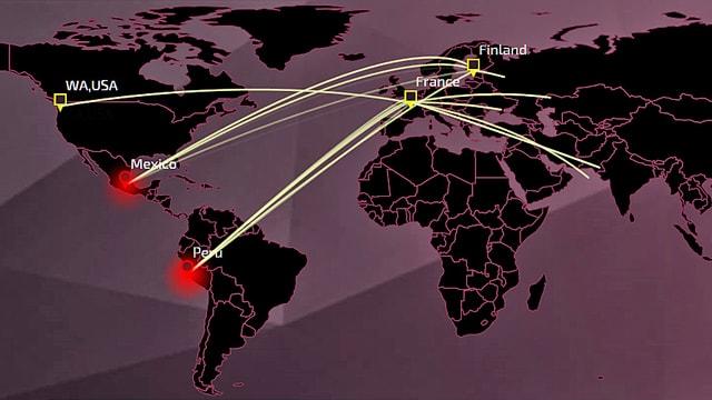 Weltkarte mit Städten, von denen aus andere Städte im Internet attackiert werden.