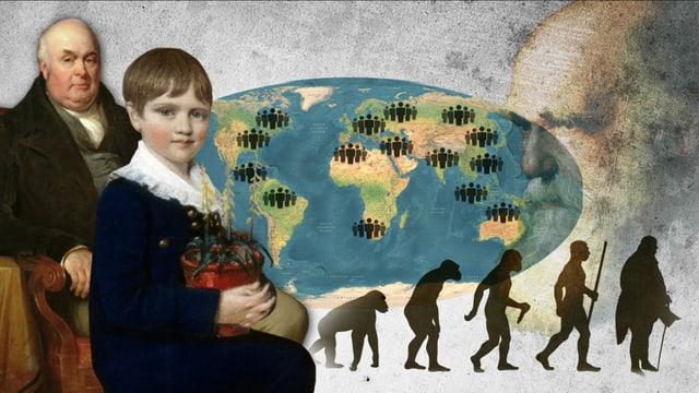 Eine Zeichnung mit einem Mann und einem Kind, im Hintergrund eine Weltkarte und Silhouetten von Zweibeinern - vom Affen zum Menschen.