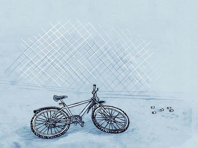 Die Illustration zeigt ein Fahrrad, das am Boden liegt, daneben fünf Patronenhülsen.