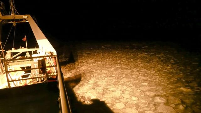 Ein Schiff fährt durch Eisstücke im Wasser.