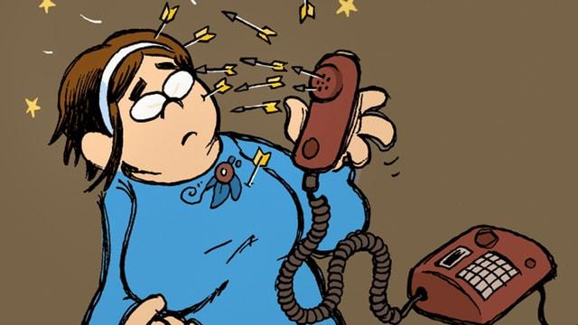 Zeichnung: Eine Frau hält einen Telefonhörer aus dem Pfeile schiessen.