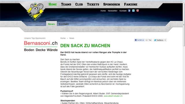 Homepage des Eishockeyclubs Olten mit dem Abschnitt, in dem ein Regierungsratskandidat für die Solothurner Wahlen im März werben kann.