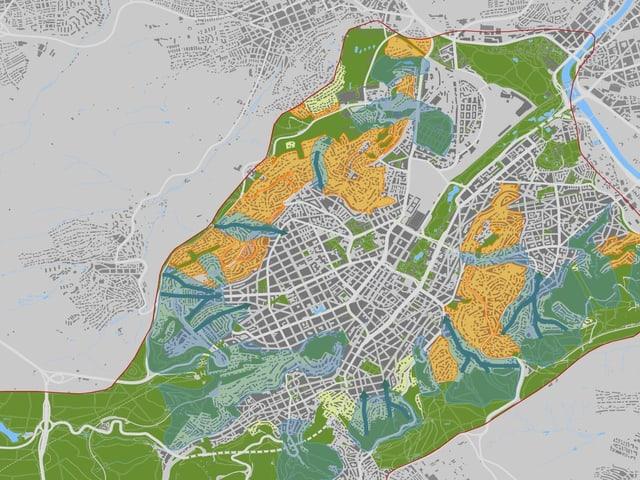 Karte mit Kaltluftbahnen