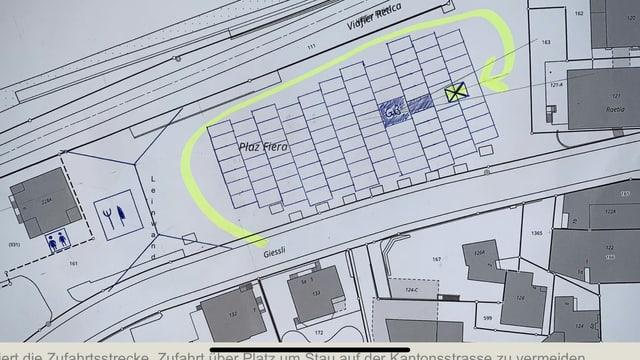 Il plan da la plazza fiera cun las indicaziuns co parcar per l'occurrenza Autokino.