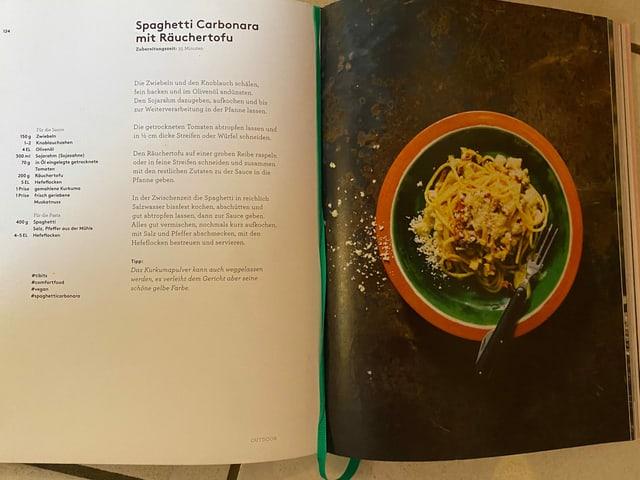 Ein Rezept für ein vegane Spaghetti Carbonara.