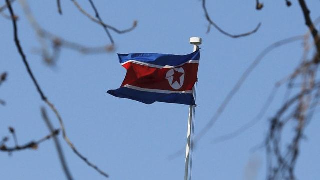 Fahne Nordkoreas im Wind.