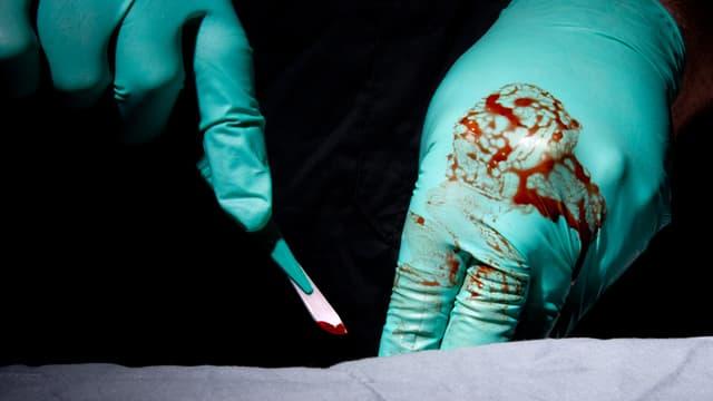 Hände mit blutigen Handschuhen