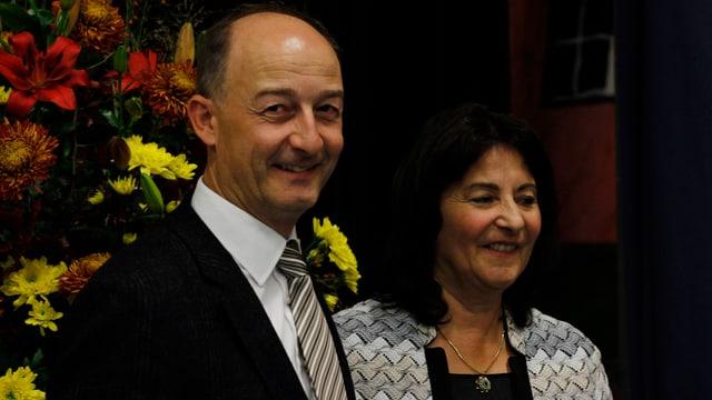 Il president da la citad da Cuira Urs Marti ed Anna Giacometti.
