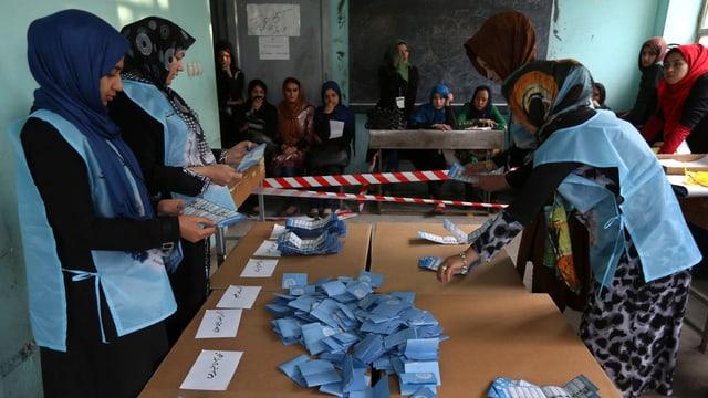 Frauen zählen Wählerstimmen an einem Tisch aus