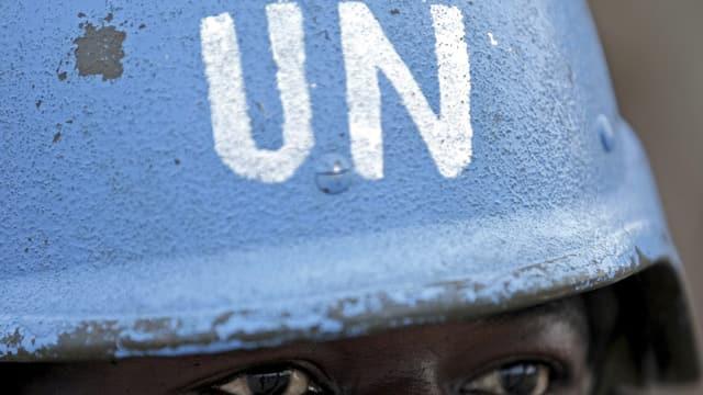 Ein afrikanischer Blauhelm-Soldat.