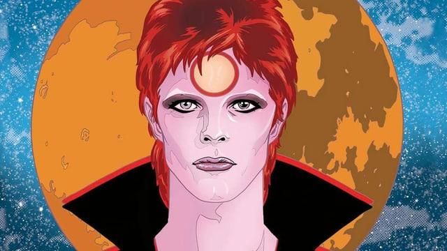 Cover eines Comics mit David Bowie vor einem orangen Mond im Weltall