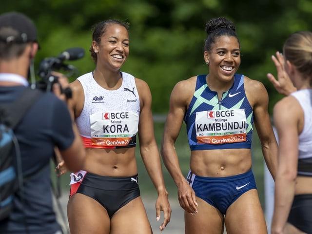 Die beiden Sprinterinnen Salomé Kora (l.) und Mujinga Kambundji.