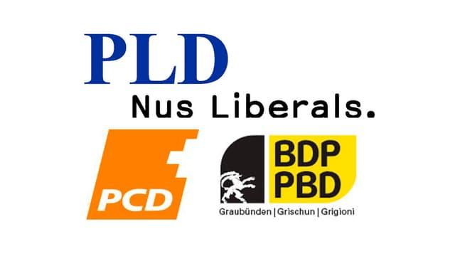 Ils logos da la PLD, PCD e PBD.