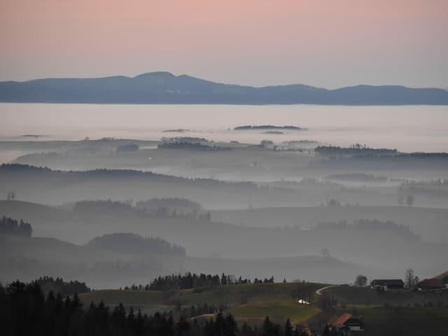 Blick auf eine Hügellandschaft mit Nebel.