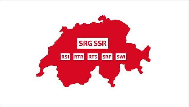 Grafik der Schweiz mit den jeweiligen Logos der Unternehmenseinheiten der SRG SSR