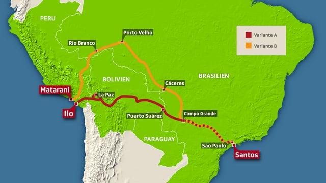 Kartenausschnitt mit Bahnlinie in zwei Varianten