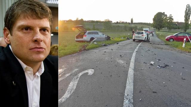 Zusammengesetztes Bild: Links ist ein Porträt von Jan Ullrich zu sehen. Rechts eine Strasse mit drei Autos. Zwie der Autos befinden sich auf den Wiesen, die sich links und rechts der Strasse befinden.