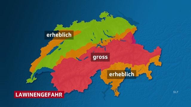 Schweizerkarte mit Lawinengefahr