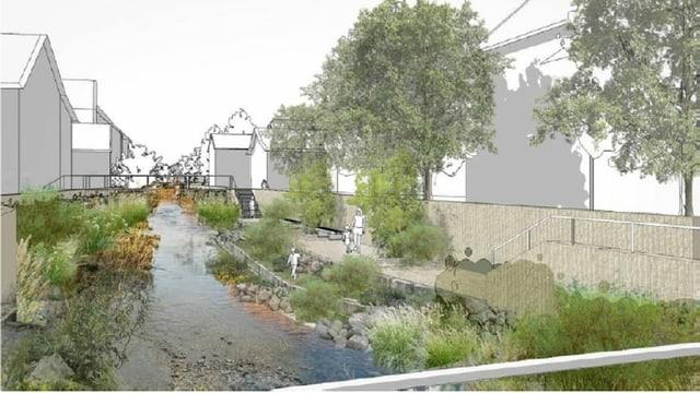 Visualisierung des Projekts mit Mauer