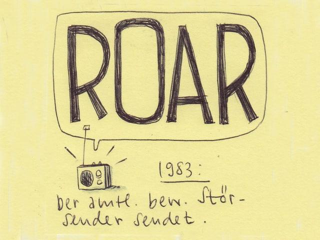Aus dem kleinen gezeichneten Radio tönt eine grosse Sprechblase. Mit dem Inhalt: ROAR. Dazu der Satz: Der amtlich bewilligte Störsender sendet.