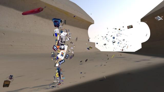 Ein animierter Mensch in Form von zusammengewürfelten Büchern läuft einer virtuellen Wüstengegend entlang.