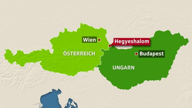 Karte von Österreich und Ungarn, darauf eingezeichnet der Ort Hegyeshalom