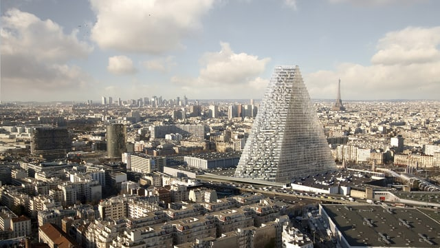 Architektur-Rendering: Der Tour Triangle ragt aus der Pariser Skyline.