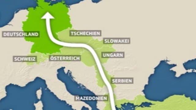 Ein Pfeil zieht durch die östilchen Europaländer und endet in Deutschland.