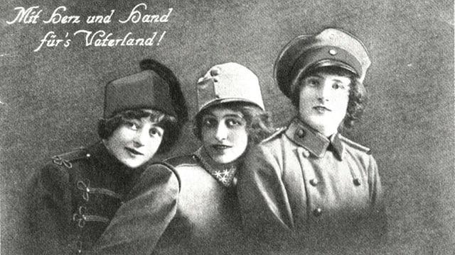 Eine Postkarte aus dem Ersten Weltkrieg. Abgebildet sind drei Frauen.