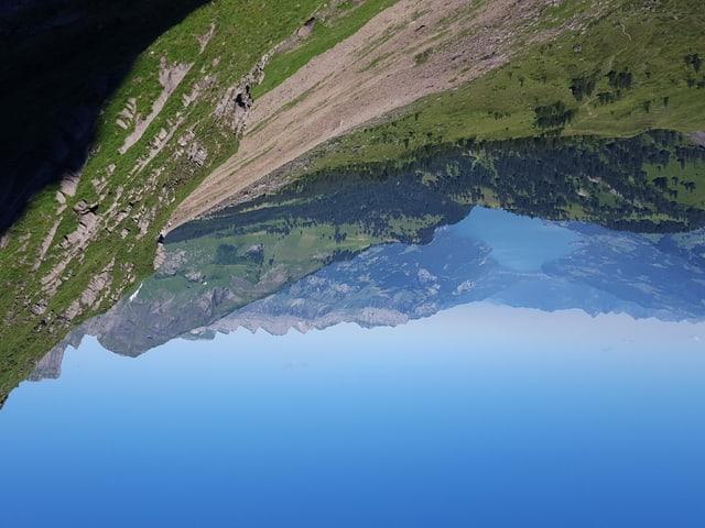 Blauer Himmel, Sicht auf einen See.