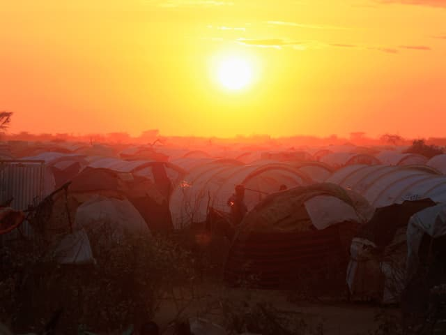 Blick auf Zeltlager im Flüchtlingslager