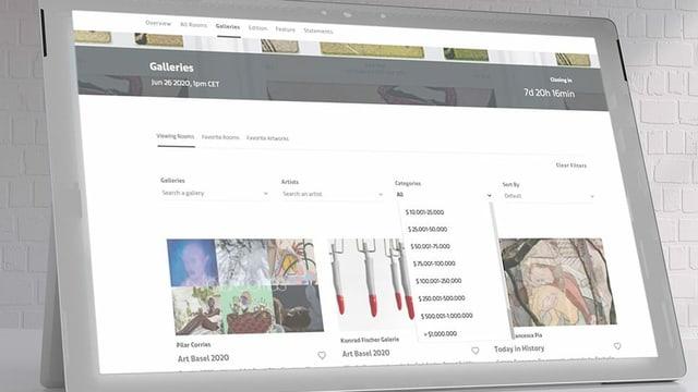 Screenshot einer Website: In einem Menu können Preisspannen von 10'000 bis 1 Million gewählt werden