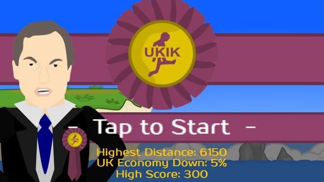 Screenshot des Apps Ukik: Zu sehen ist eine Comicsfigur, die Ukip-Chef Nigel Farage gleicht.