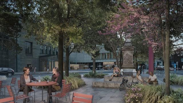 Eine Visualisierung zeigt, wie die Zürcher auf dem Heimplatz lesen und Kaffee trinken.