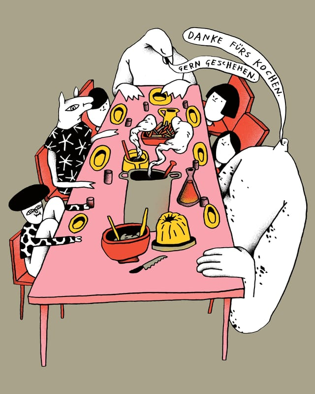 Comic: Ein Vogel, ein Clown, ein Gnom, ein Wolf und drei Kinder sitzen an einem gedeckten Esstisch.