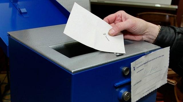 Wahlzettel vor Urne