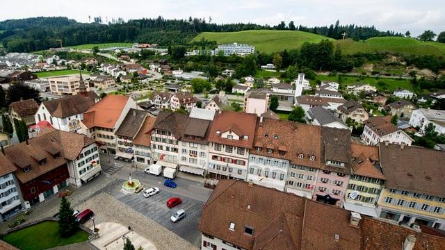 Altstadthäuser von Willisau von oben