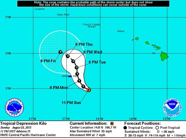 Die Zugbahn verläuft westlich von Hawaii.