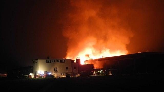 Feuer und Rauch über einem Gebäudekomplex, nachts.