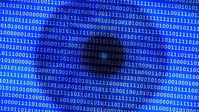 Pupille mit digitalen Daten unterlegt