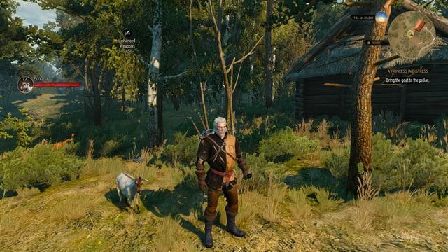 Geralt lockt per Glocke eine Ziege zurück in den Stall.