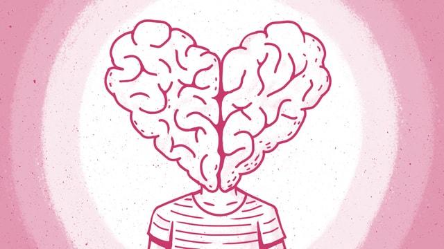 Zeichnung. Eine Figur hat als Kopf gespaltenes Gehirn in Herzform.