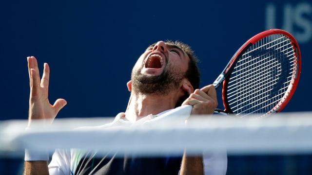 Marin Cilic jubelt über seinen Sieg im Viertelfinal gegen Tomas Berdych.