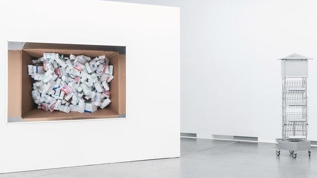 Foto von einer Kartonschachtel, in der sich Medikamentenschachteln befinden.