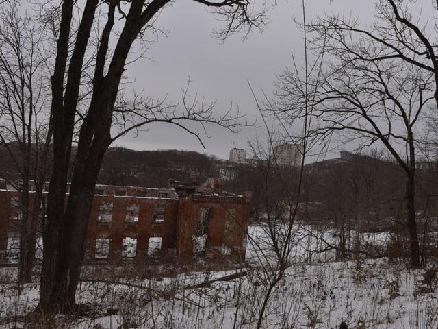 Ruine, dahinter die neue Uni auf Russki
