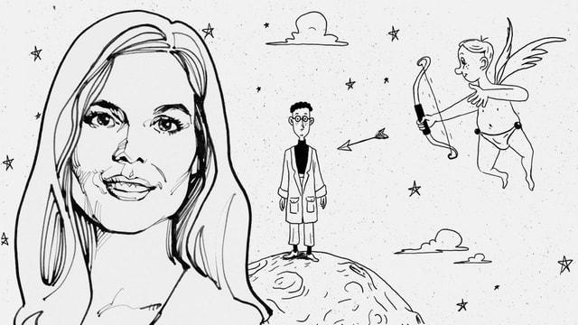 Eine Illustration von Nino Christen zeigt einen Frauenkopf, hinter dem ein Männchen steht, das von Amors Pfeil getroffen wird.