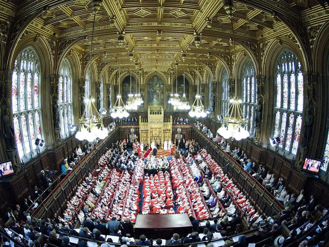 Blick ins House of Lords, wo die Queen ihre Thronrede hielt.